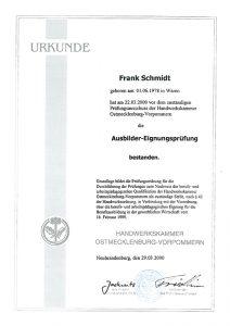 Urkunde-FrankSchmidt-Dachdecker-Ausbilder